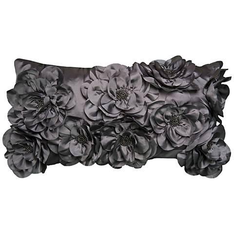 """Calla Gray Enchanted Floral 21"""" x 11"""" Throw Pillow"""