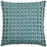 "Kellan Textured Felt Circles Blue 20"" Square Throw Pillow"