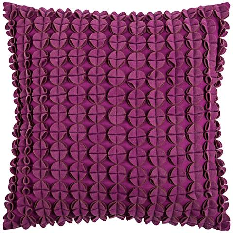 "Kellan Textured Felt Circles Pink 20"" Square Throw Pillow"
