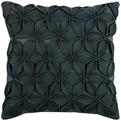 """Jessica Floral Petal Textured Gray 18"""" Square Throw Pillow"""