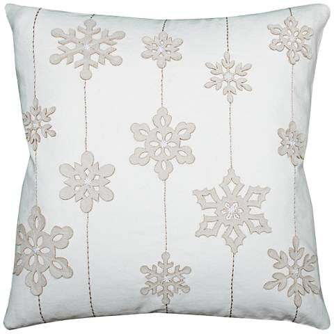 "Blizzard White Snowflakes 20"" Square Throw Pillow"