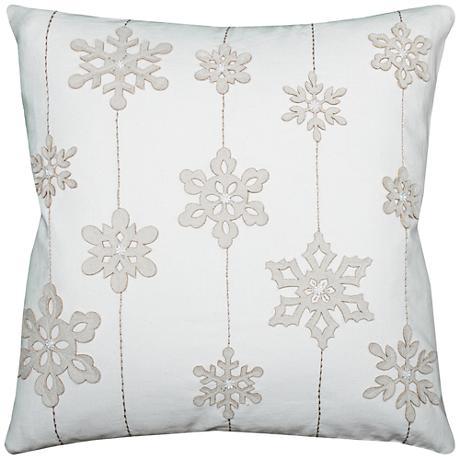 """Blizzard White Snowflakes 20"""" Square Throw Pillow"""