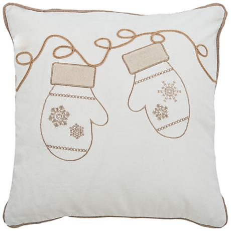 "Wonderland Ivory Snowflake Mittens 18"" Square Throw Pillow"