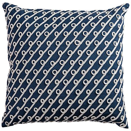 "Riley Navy and White Diagonal Swoops 20""W Throw Pillow"