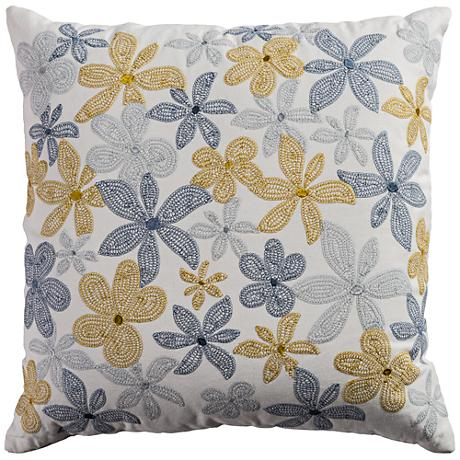 "Venta Floral Multi-Color Blue 20"" Square Throw Pillow"