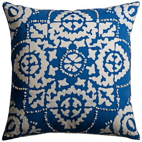 """Kristos Medallion Blue 18"""" Square Printed Throw Pillow"""