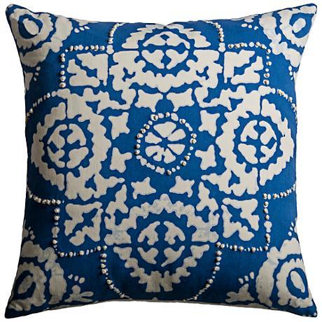 Blue Medallion Throw Pillows : Kristos Medallion Blue 18