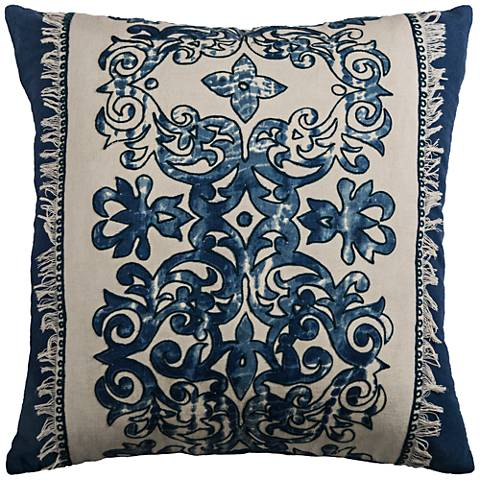 "Stella Floral Navy 18"" Square Printed Throw Pillow"