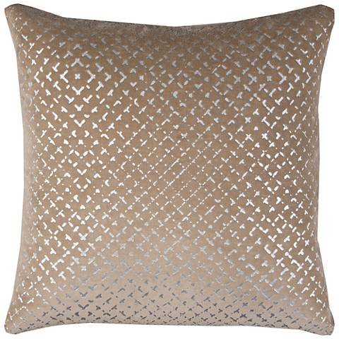"Blake Geometric Foil Printed Brown 20"" Square Throw Pillow"