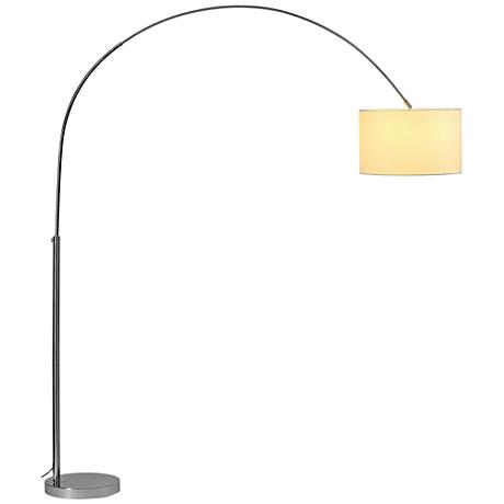 Soprana chrome arc floor lamp with white shade 10f54 lamps plus - Arc floor lamp shade ...