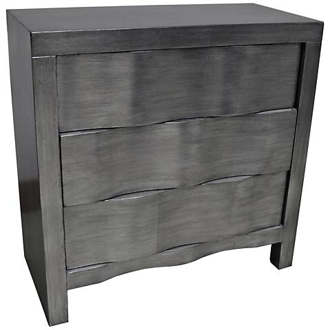 Crestview Collection Baxter Brushed Silver Leaf 3-Drawer Chest