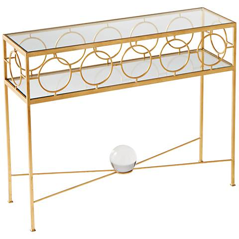 Auric Orbit Gold Leaf Console Table
