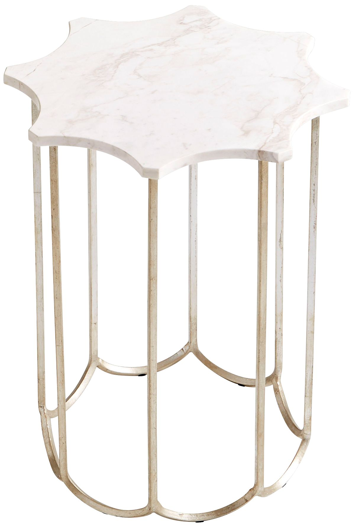 Stardust Marble Top And Antique Silver Side Table