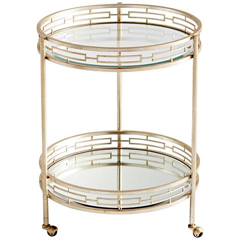 Meridian Antique Silver and Glass Round Bar Cart