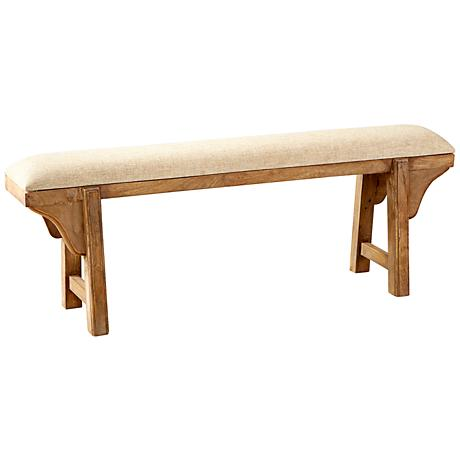 Gable Light French Gray Fabric and Mango Wood Bench