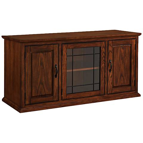 Leick Burnished Oak 3-Door Leaded Glass TV Stand Cabinet