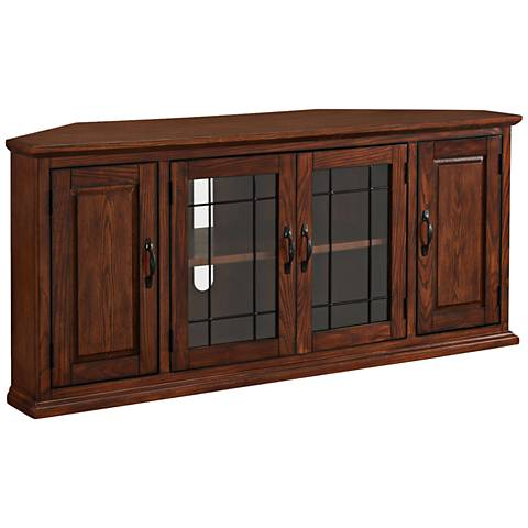 Leick Burnished Oak 4-Door Leaded Glass Corner TV Cabinet