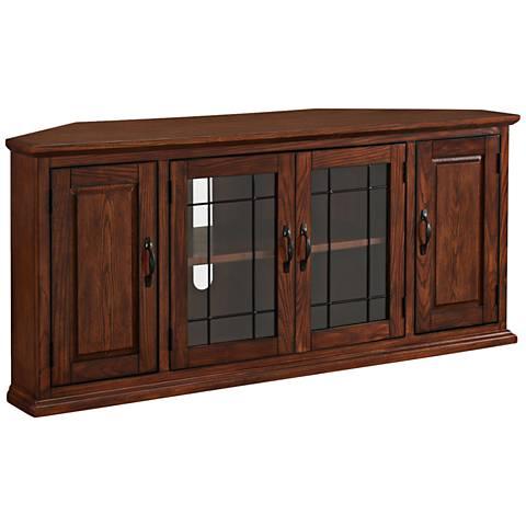 Leick Burnished Oak 4 Door Leaded Glass Corner TV Cabinet 10G91 Lamps Plus