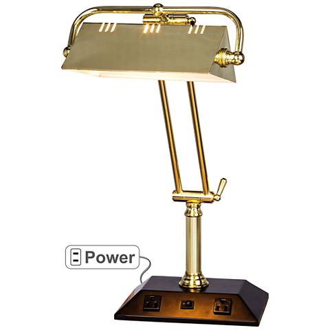 Market Satin Brass Adjustable Tech Desk Lamp with Outlets