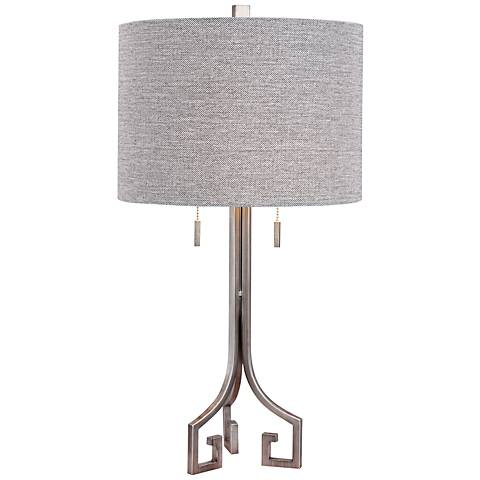 Fulton Antique Silver Metal Twin Light Table Lamp