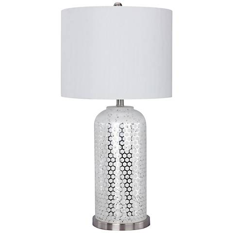 Dore Brushed Steel and Silver Glass Table Lamp