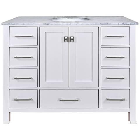 "Malibu 48"" Pure White Single Sink Bathroom Vanity"