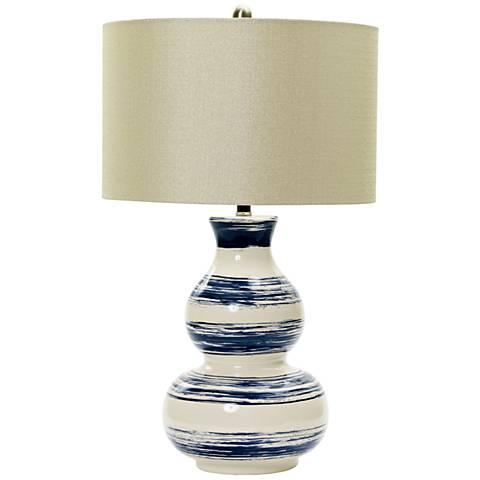 Corbett White with Navy Brushstrokes Ceramic Table Lamp