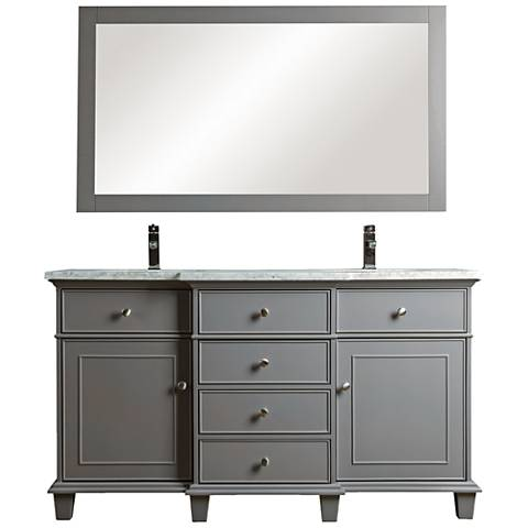 "Cadence 60"" Gray Double Sink Bathroom Vanity with Mirror"