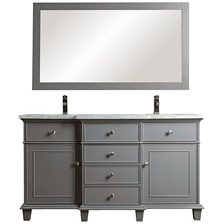 "Cadence 60"" Gray Double Sink Bathroom Vanity with Mirror"