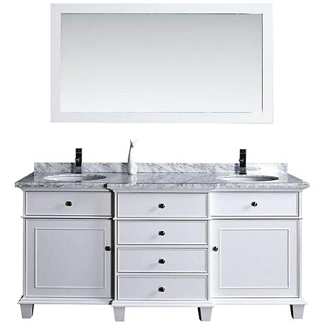 "Cadence 60"" White Double Sink Bathroom Vanity with Mirror"