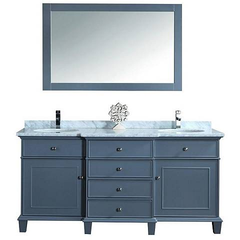 "Cadence 72"" Gray Double Sink Bathroom Vanity with Mirror"