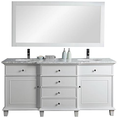 "Cadence 72"" White Double Sink Bathroom Vanity with Mirror"