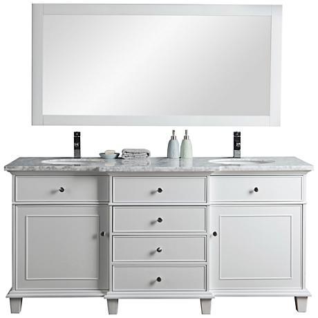 "Cadence 72"" White Double Sink Bathroom Vanity with Mirror"