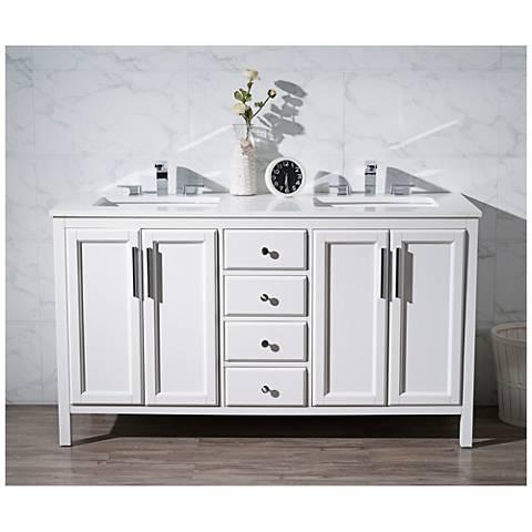 """Emily 59"""" White Double Sink Bathroom Vanity"""