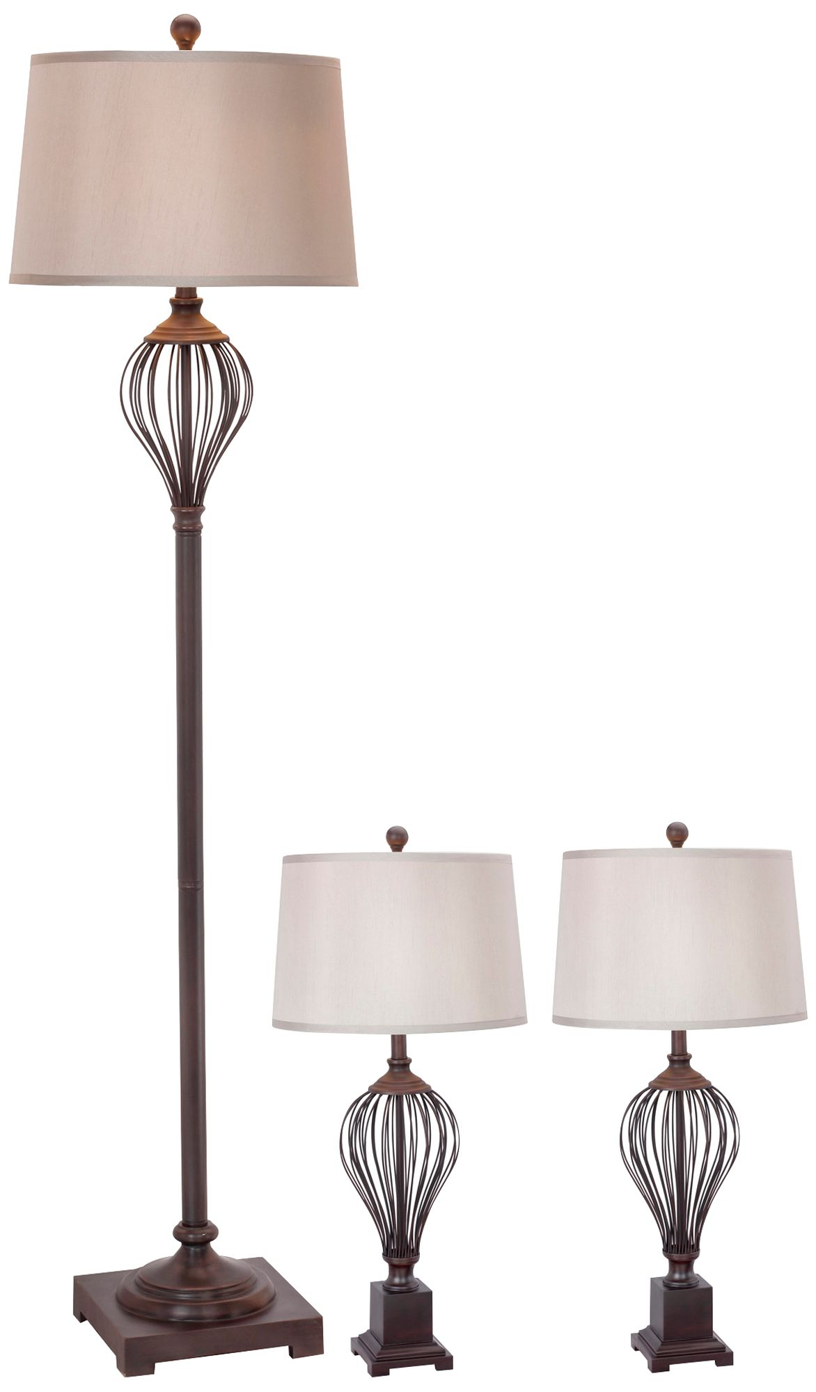 Maple Oil Rubbed Bronze 3 Piece Floor And Table Lamp Set