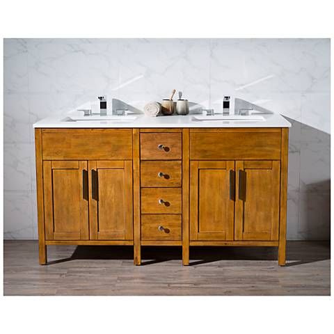 "Evangeline 59"" Light Brown Double Sink Bathroom Vanity"