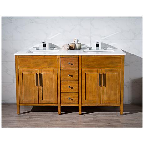 "Evangeline 59"" Light Brown Double Sink Bathroom Vanity"