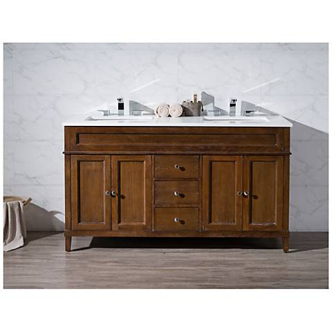 "Hamilton 59"" Dark Brown Double Sink Bathroom Vanity"