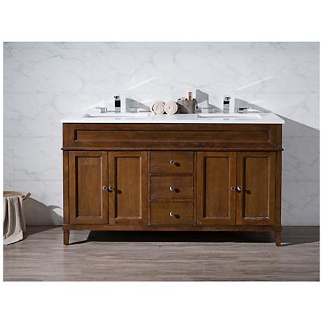 "Hamilton 59"" Dark Brown Double Sink Bathroom Vanity"