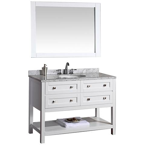"Marla 48"" White Single Sink Bathroom Vanity with Mirror"