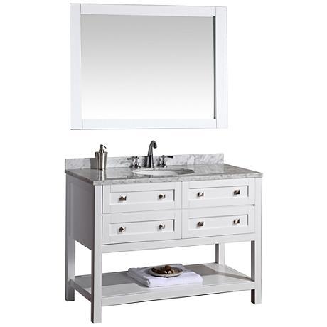 "Marla 48"" White Single Sink Bathroom Vanity with Mirror"