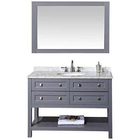 "Marla 48"" Gray Single Sink Bathroom Vanity with Mirror"