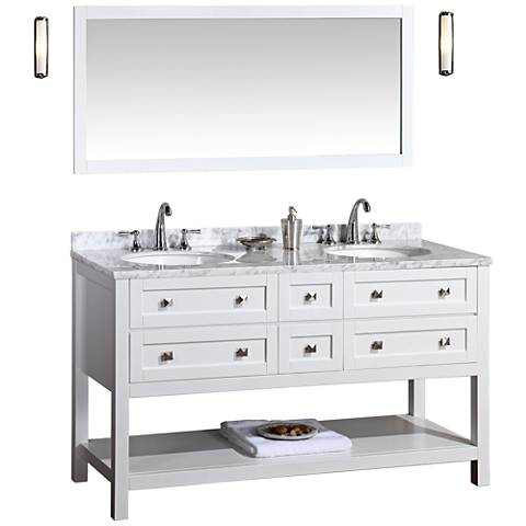 "Marla 60"" White Double Sink Bathroom Vanity with Mirror"
