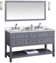 "Marla 60"" Gray Double Sink Bathroom Vanity with Mirror"