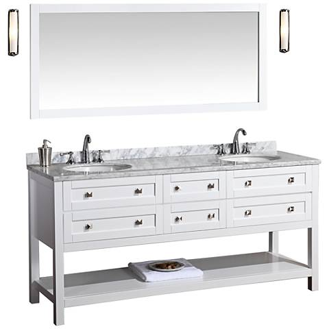 "Marla 72"" White Double Sink Bathroom Vanity with Mirror"