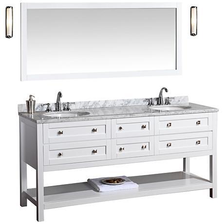 "Marla 72"" White Double Sink Bathroom Vanity with Mirror"