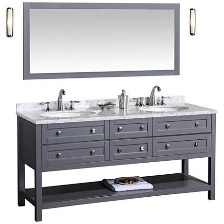 "Marla 72"" Gray Double Sink Bathroom Vanity with Mirror"