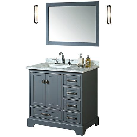 "Newport 36"" Gray Single Sink Bathroom Vanity with Mirror"