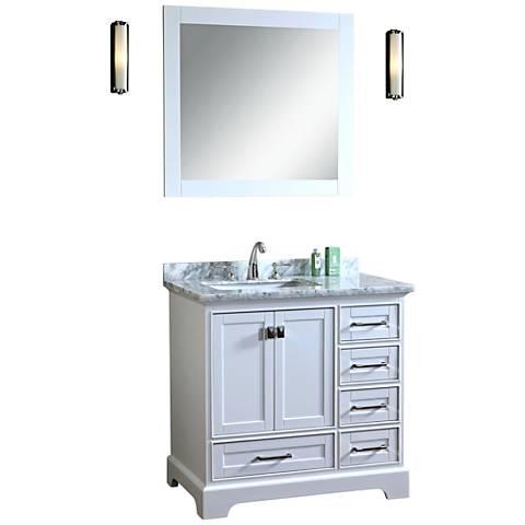 "Newport 36"" White Single Sink Bathroom Vanity with Mirror"