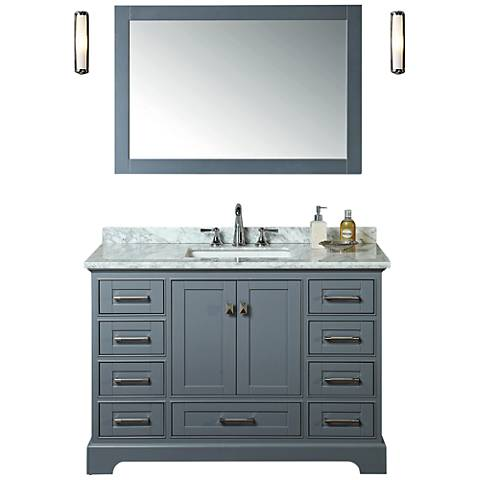 "Newport 48"" Gray Single Sink Bathroom Vanity with Mirror"